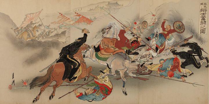 Ogata Gekkō~Soldiers fight hard at F - Old classic art