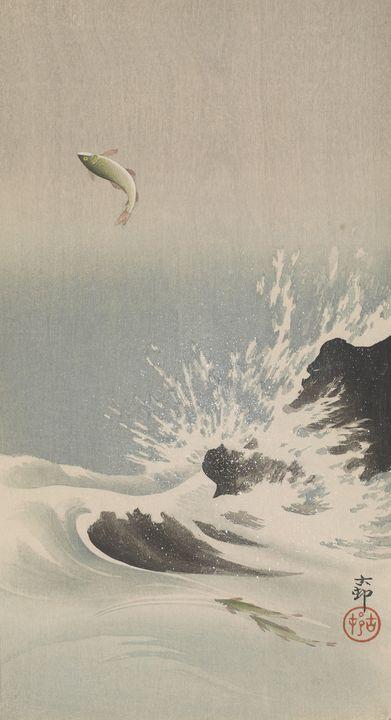 Ohara Koson~Three salmon, one jumpin - Old classic art
