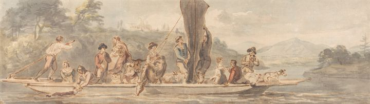 Paul Sandby~River Ferry with Many Pa - Old classic art