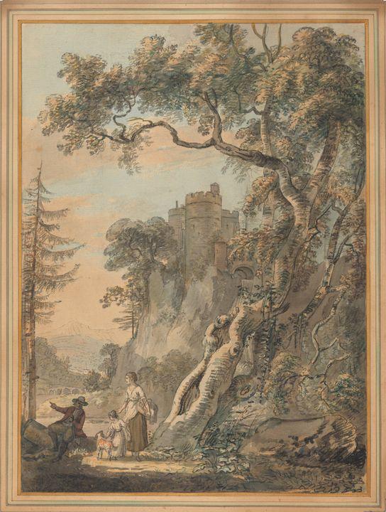 Paul Sandby~Romantic Landscape-Peasa - Old classic art