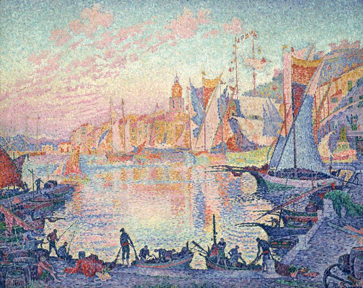 Paul Signac~The Port of Saint-Tropez - Old classic art