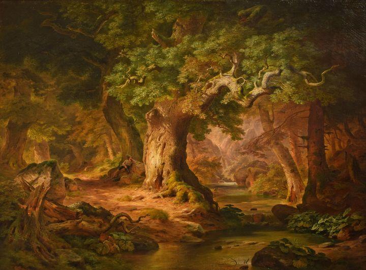 Paul Weber~The Mountain Stream - Old classic art