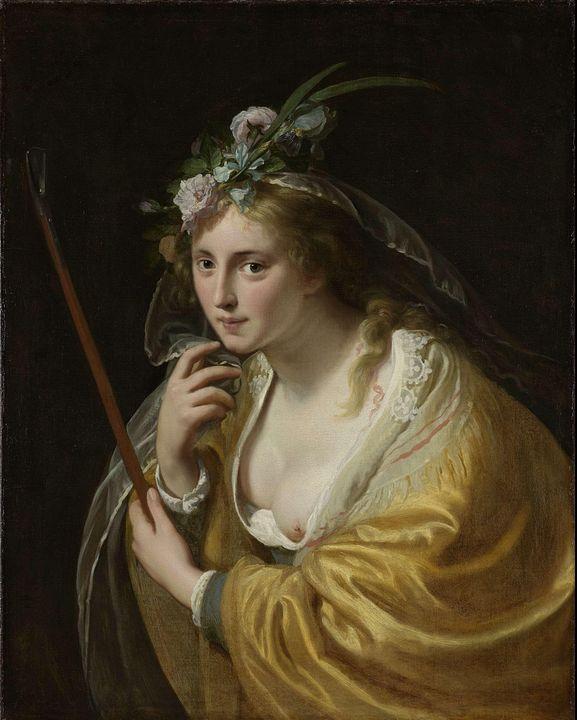 Paulus Moreelse~A Shepherdess - Old classic art