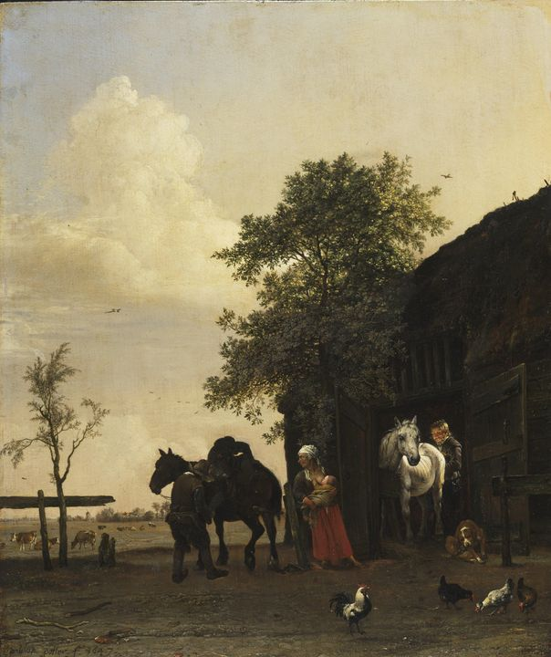Paulus Potter~Figures with Horses by - Old classic art