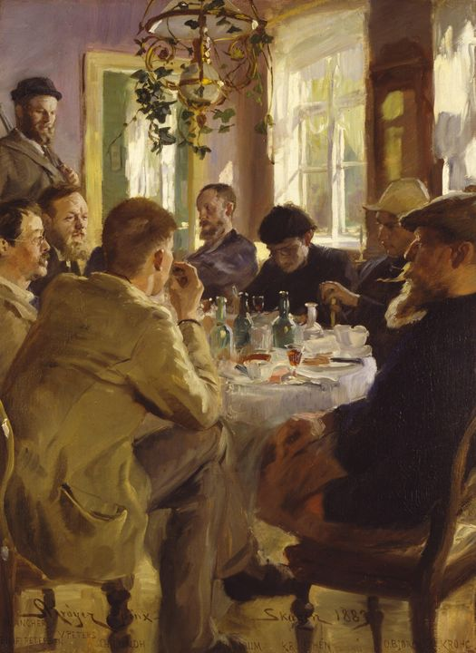 Peder Severin Krøyer~Artists' lunche - Old classic art