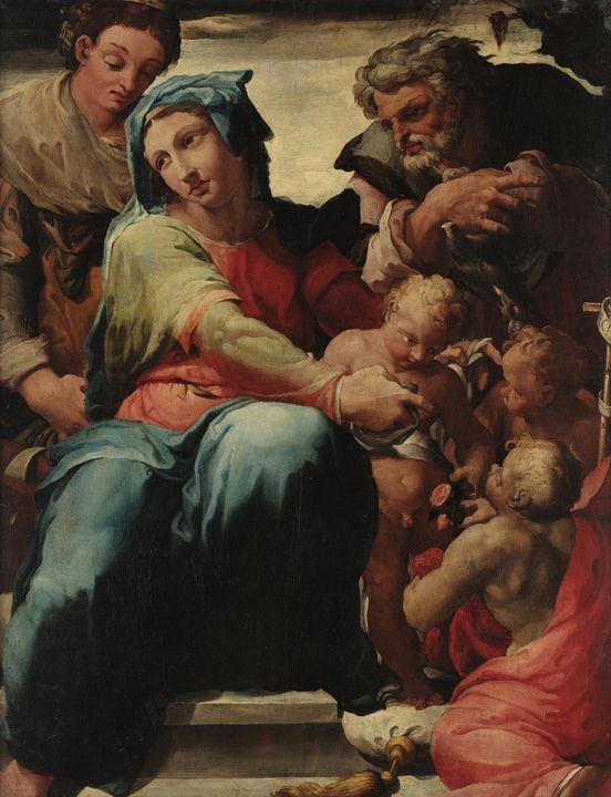 Pellegrino Tibaldi~The Holy Family w - Old classic art