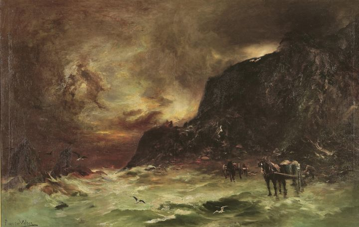 Petrus Van der Velden~Storm at Welli - Old classic art