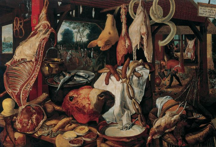 Pieter Aertsen~Still Life with Meat - Old classic art