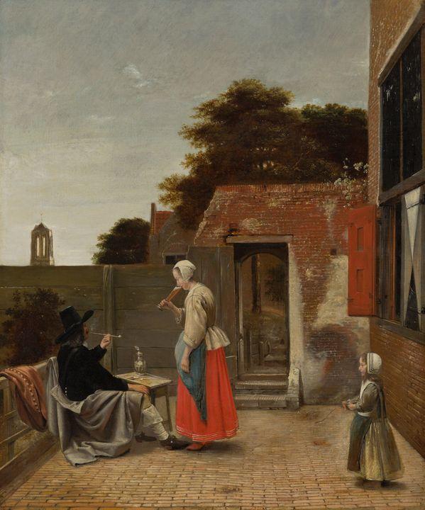 Pieter de Hooch~A Man Smoking and a - Old classic art