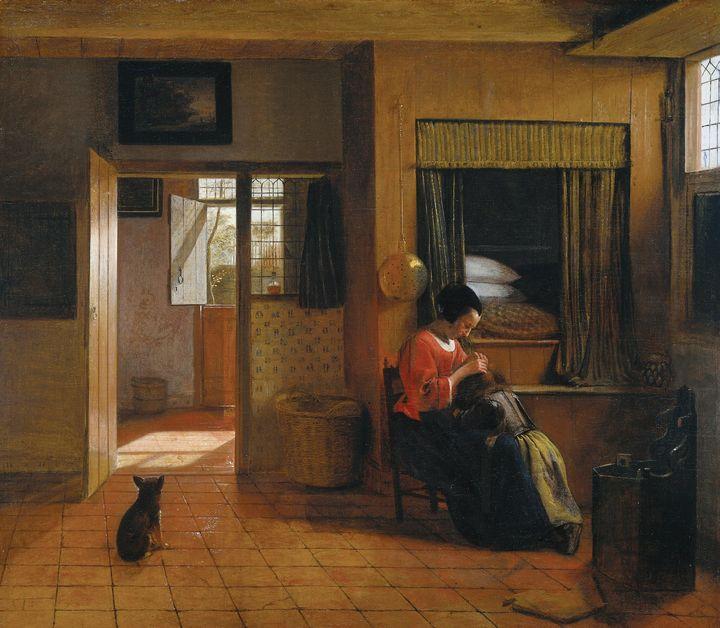 Pieter de Hooch~A Mother Delousing h - Old classic art