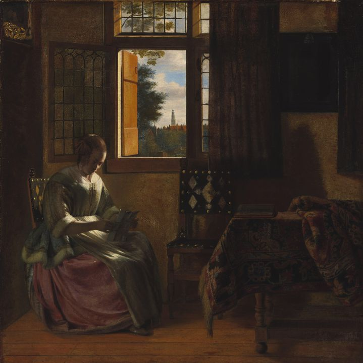 Pieter de Hooch~A Woman Reading a Le - Old classic art
