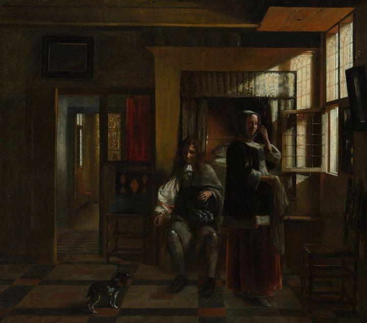 Pieter de Hooch~Interior with a Youn - Old classic art