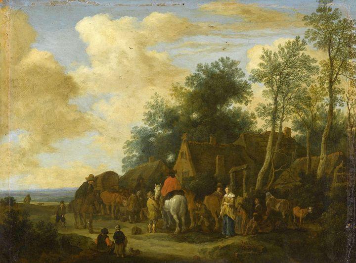 Pieter de Molijn~Halting at a roadsi - Old classic art