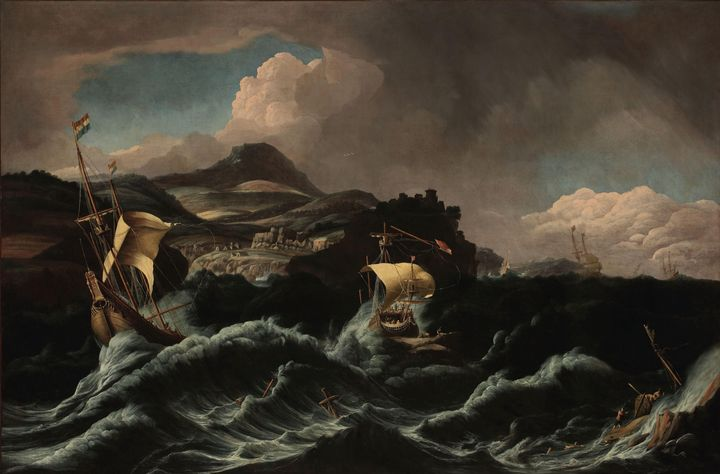 Pieter Mulier II~Stormy sea with shi - Old classic art