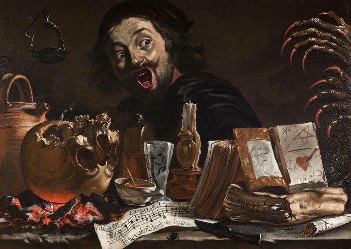 Pieter van Laer~Self-Portrait with M - Old classic art