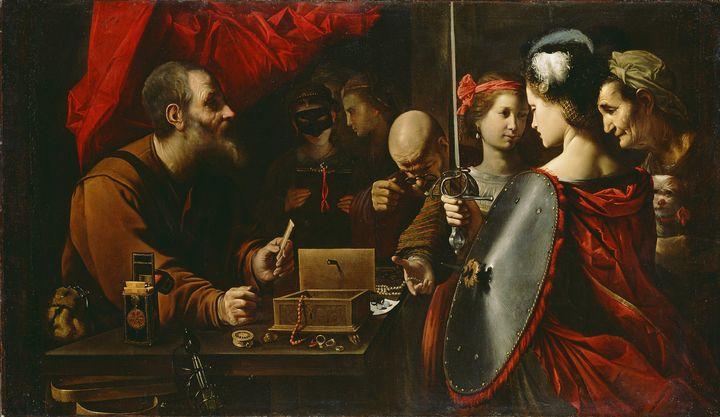 Pietro Paolini~Achilles among the Da - Old classic art