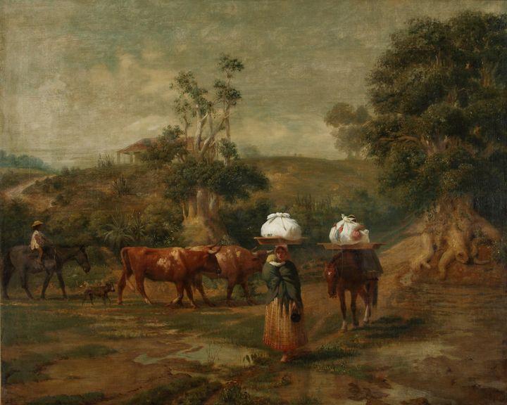 Prilidiano Pueyrredón~Lavanderas en - Old classic art