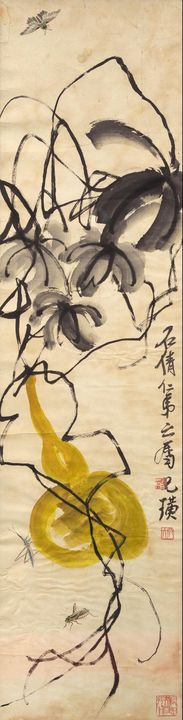 Qi Baishi~Gourd and three insects - Old classic art