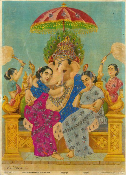 Raja Ravi Varma~Ganapathi (with Ridd - Old classic art