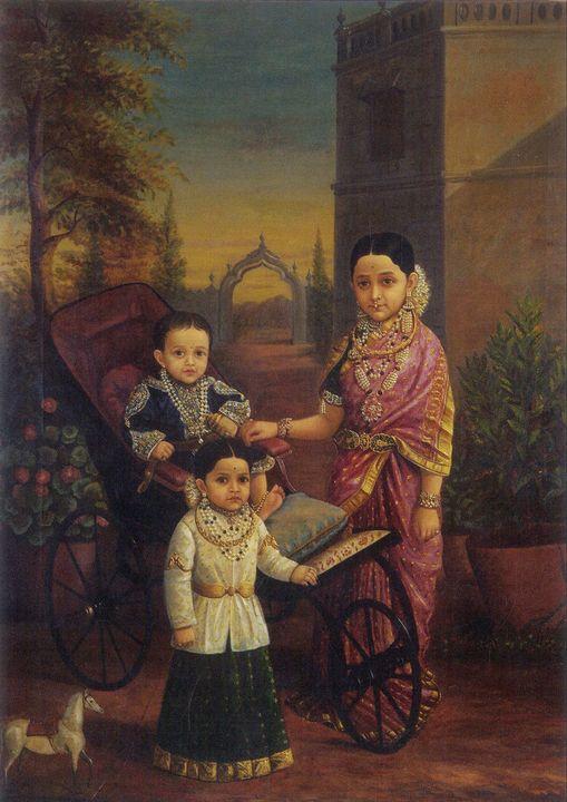 Raja Ravi Varma~Krishnaraja Wadiyar - Old classic art