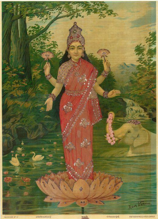 Raja Ravi Varma~Lakshmi emebllished - Old classic art