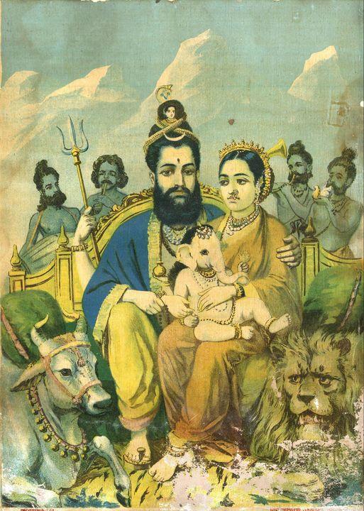 Raja Ravi Varma~Mahadev Parvati - Old classic art