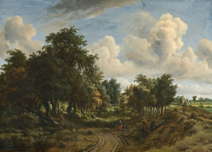 Meindert Hobbema~A Wooded Landscape - Old classic art