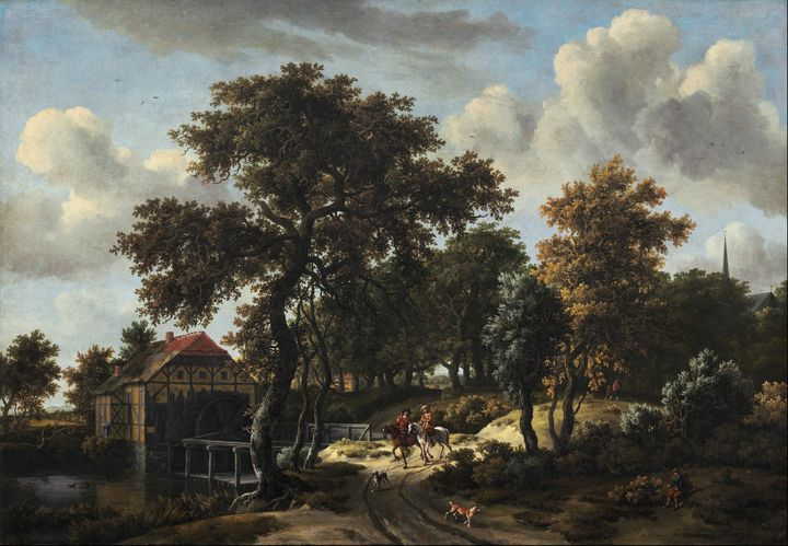 Meindert Hobbema~The Travelers - Old classic art