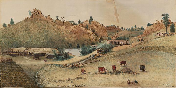 Merritt Dana Houghton~Ranch of K.P. - Old classic art