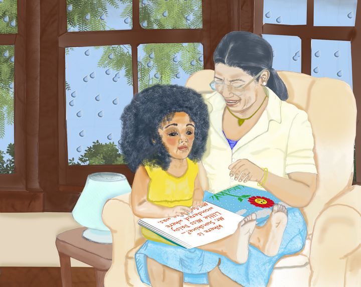 Grandma Reads to Katie - toksabukadesign