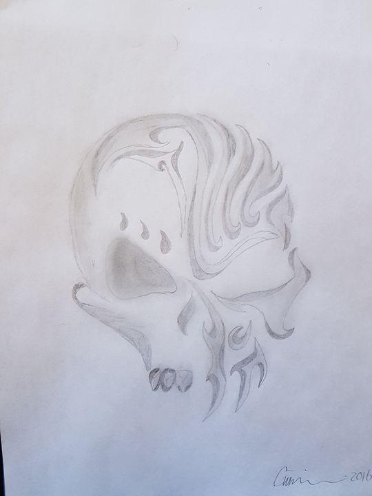 burning skull - colby's drawings