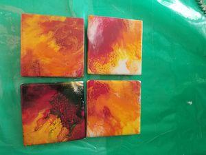 Set of 4 4×4 resin tile coasters