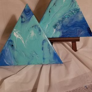 2 triangle resin paintings
