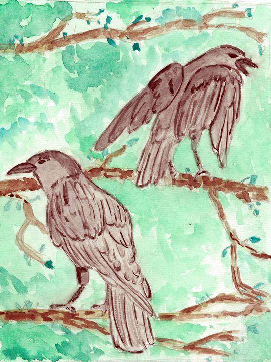 Crows - Watercolor - Rachel Newman