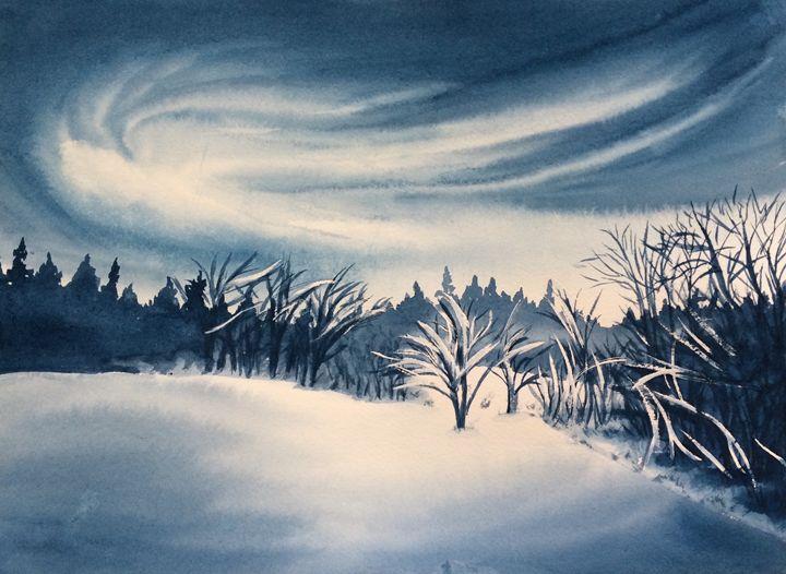 Snowy Winter Night - Susannah Helene Art