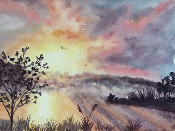 Foggy Lake Sunset - Susannah Helene Art