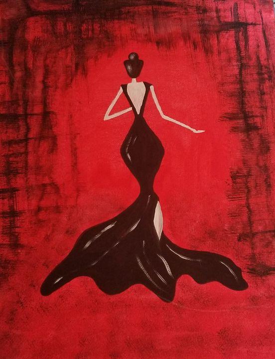 Women in black dress - Jyoti_paintingallery