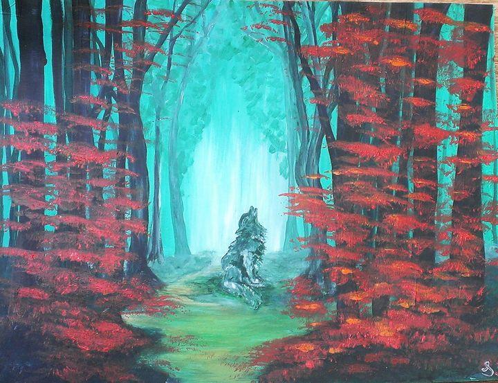 Enchanted Wolf Woods - Sami R Hall Art