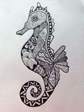 Zentangle sea horse