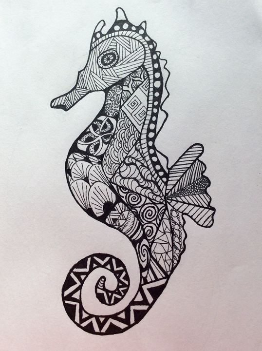 Zen tangle sea horse - AH art