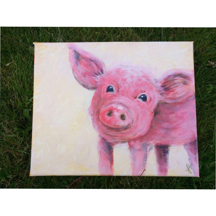 Acrylic Pig Painting - Jennifer Crowley Art