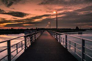 Crossing the Bridge At Sunset