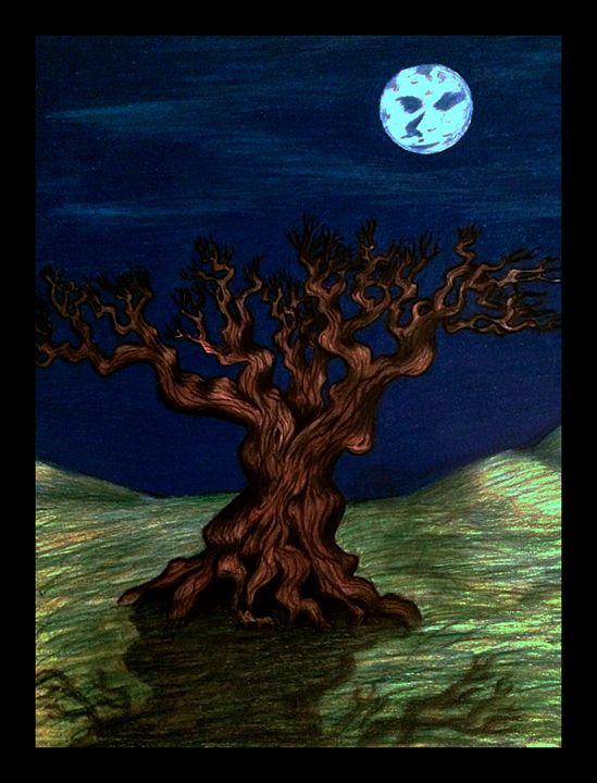 Tree in moonlight - Art by Anne-Marie Keller