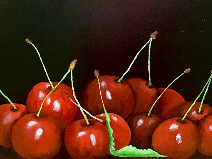 Cherries on table - Camilla's Paintings