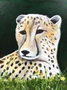 Painting of cheetah in the grass - Camilla's Paintings