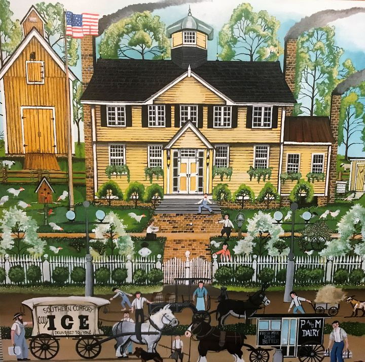 Yellow House on Elm Street - burchettARTWORKS