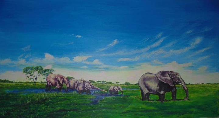 ''Elephants of Okavango'' - Kanye Artworks