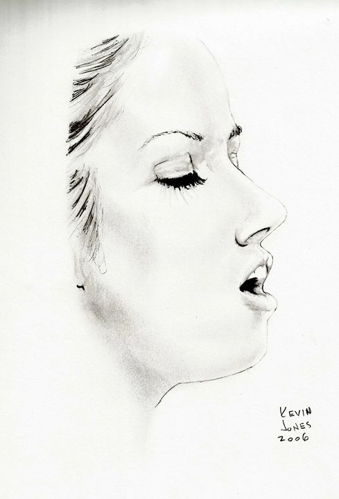 woman with eyes closed kevin jones drawings illustration