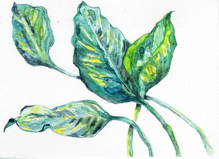 Watercolor,aquarelle,feuilles vertes - voicivoilà