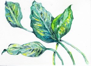 Watercolor,aquarelle,feuilles vertes